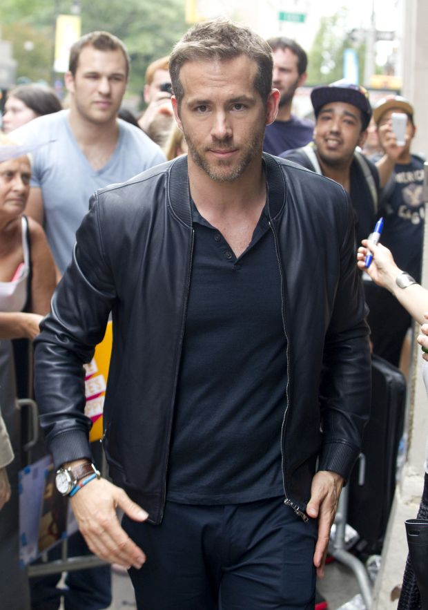 "Ryan Reynolds is all smiles as he exits AOL studios in NYC. The actor posed with fans after appearing to promote his new movie ""Self / Less"".Pictured: Ryan ReynoldsRef: SPL1072241  060715  Picture by: Splash NewsSplash"