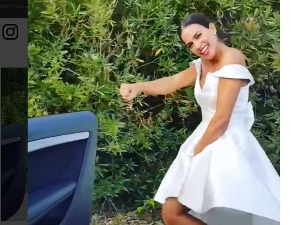 Απίθανη Κατερίνα Στικούδη κάνει Kiki Challenge με το νυφικό καθοδόν για τον γάμο! (ΒΙΝΤΕΟ)